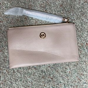Michael Kors zip leather clutch purse